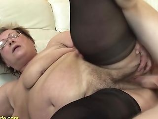 Hairy 78 Years Old Bbw Granny In Sexy Stoxkings Luvs A Rough Fucking Lesson