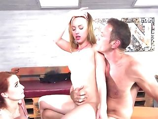 Youthfull Man Fucks Culo Of Blonde While Ginger-haired Is Tonguing Bulls Eye