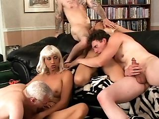 Old Boy Gives Warm Head To Black Tranny