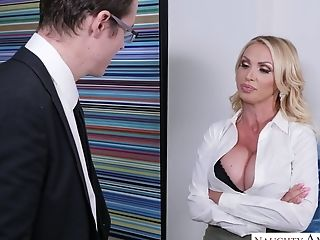 Gorgeous Seductress Nikki Benz Tempts Her Egghead And Decent Chief