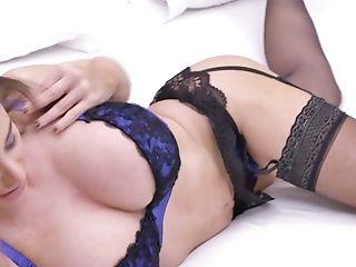 Juggy Woman In Sexy Undergarments Cathy Heaven Masturbates Beautiful Muff