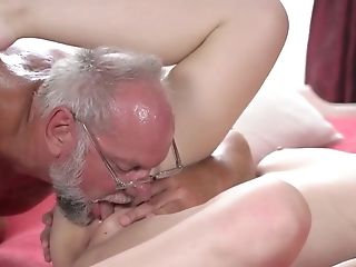 Very Old Man Gets Access To Tender Slit Of Youthfull Blonde Angelface