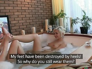Soapy Bath With Girl/girl Fuck-a-thon Inbetween Eufrat Mai And Her Friend