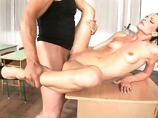 Inviting Dark-haired Lecturer With A Clean-shaven Snatch Gets Fucked On A Table Until Orgasm