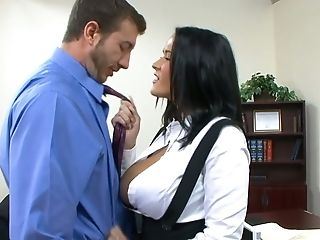 Wild Suntanned Office Cockslut Carmella Bing Gives Her Chief Awesome Boob Job