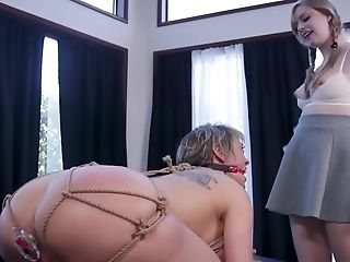Tied Teenager Chick Gets Fucked Doggystyle And Licks Vagina