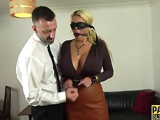 Tied Up And Eyes Covered Huge-chested Cougar Sub