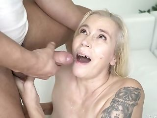 Older Blonde With Tatts Violett Hooks Up With One Youthful Dude Living Nextdoor