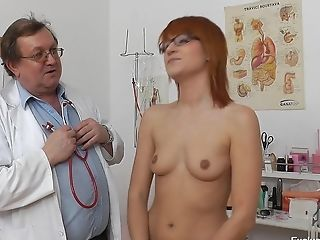First-timer Ginger-haired Woman With Glasses Needs Doc's Help