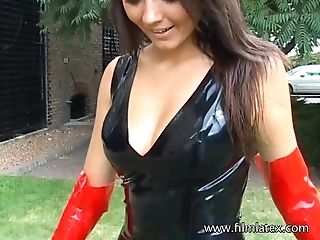 Amazing Fledgling Lonely Stunner In Spandex Sundress And Her Good Outdoor Solo