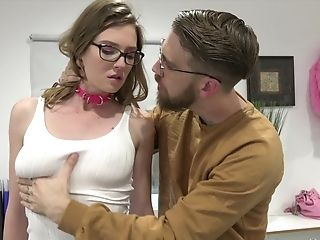 Nerdy Honey Ashley Lane Gets Her Cunt Pounded On The Floor